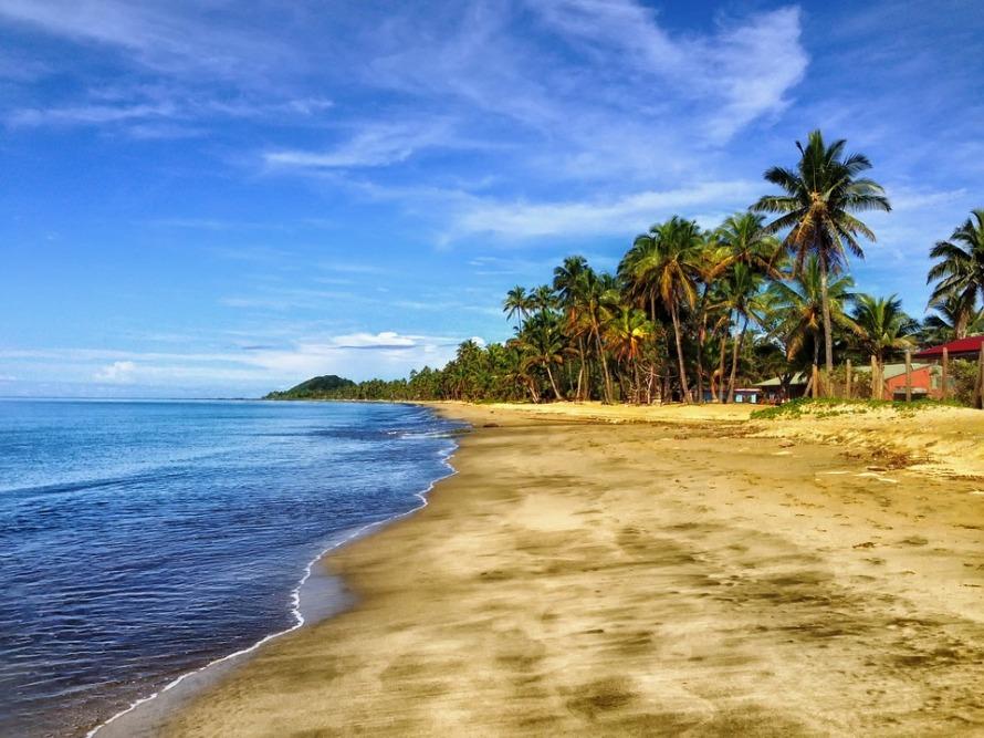Clouds Fiji Sky Palm Trees Tropics Sand Beach