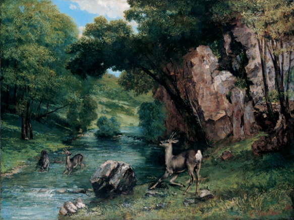 'Roe_Deer_at_a_Stream',_oil_on_canvas_painting_by_Gustave_Courbet