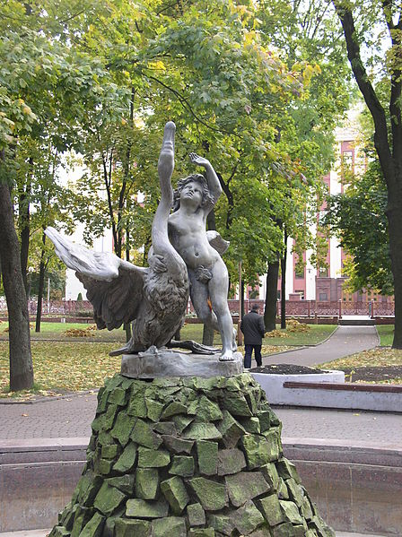 448px-Belarus-Minsk-Boy_Playing_with_Swan_Sculpture-1
