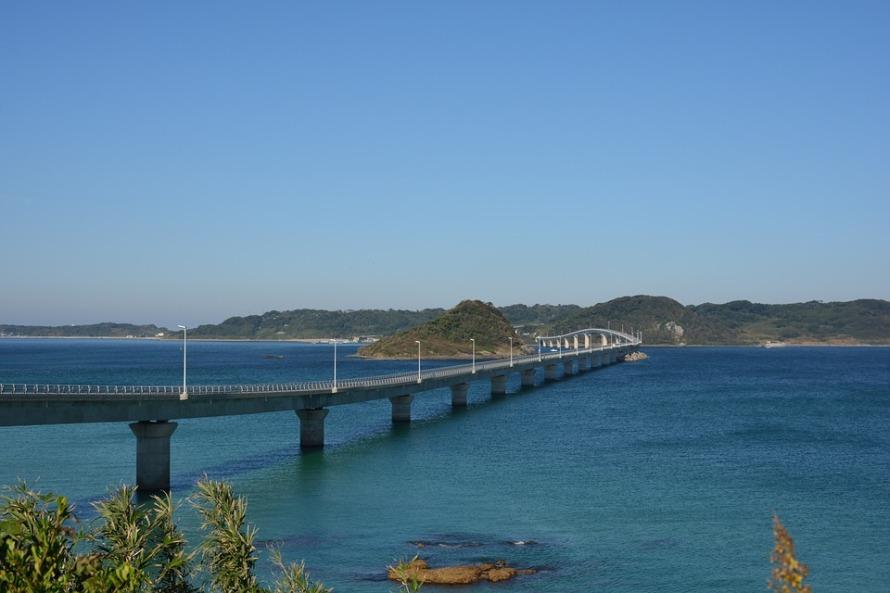 Yamaguchi Tsunoshima Island Bridge Japan Sky Sea