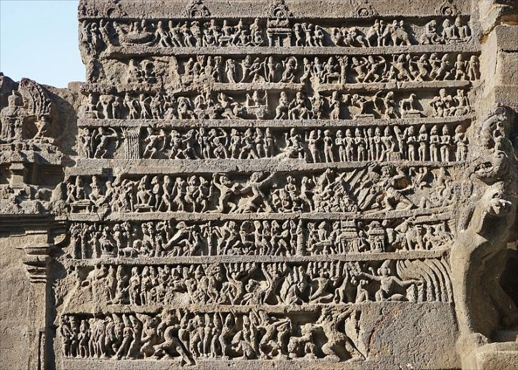 A_relief_summary_of_Ramayana_at_Hindu_temple_cave_16_Ellora_India